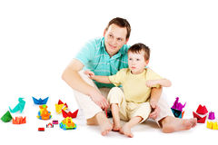 Father and son playing together Royalty Free Stock Photography