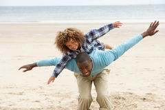Father and son playing together. Smiling at camera stock photography