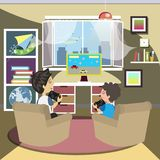 Father and son playing video games. Vector illustration Stock Image