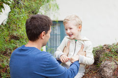Father and son playing Stock Images