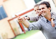 Father and son pointing Stock Photo