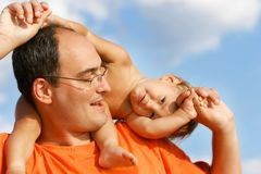 Father and son portrait. Father and son outdoor portrait Royalty Free Stock Image