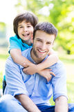 Father and son. Portrait of a happy family outdoors royalty free stock photos