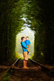 Father and son in railway green tonel Royalty Free Stock Image