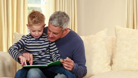 Father and son reading a story stock video footage