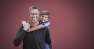 Father and son with red background. Digital composite of Father and son with red background Royalty Free Stock Photography