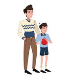 Father and son red ball. Vector illustration eps 10 Stock Image