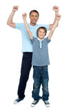 Father and son rejoicing together Royalty Free Stock Images