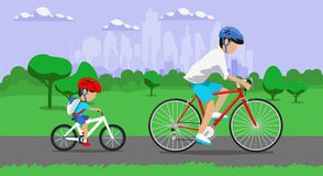 Father and son riding bikes in town park. Vector illustration Stock Photography