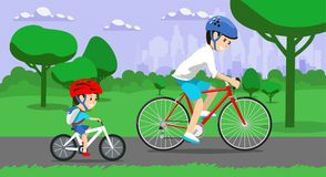 Father and son riding bikes in town park. Vector illustration Stock Images