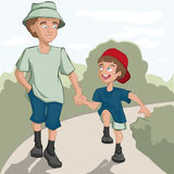 Father and son are on the road Royalty Free Stock Photography