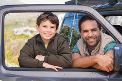 Father and son on a road trip Royalty Free Stock Photography