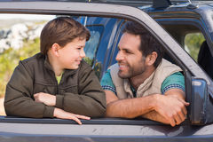 Father and son on a road trip Royalty Free Stock Photos