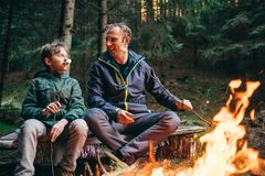 Father and son roast marshmallow candies on the campfire in fore Stock Images