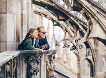 Father with son on the roof of Duomo di Milano Royalty Free Stock Photo
