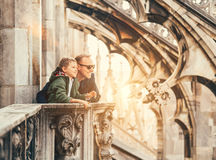 Father with son on the roof of Duomo di Milano Stock Image