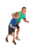 Father and son running Royalty Free Stock Photos