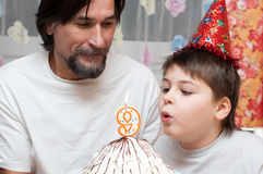 Father and son's Birthdays Stock Images