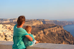 Father and son on Santorini Royalty Free Stock Photos