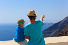 Father and son on Santorini Stock Photography