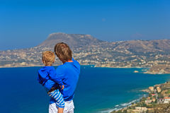 Father and son on sea vacation Royalty Free Stock Image