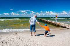 Father and Son at seacoast Royalty Free Stock Images