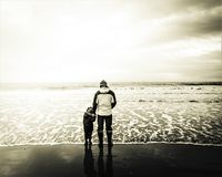 Unconditional love by the sea. royalty free stock photography