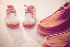 Father and son shoes Stock Photo