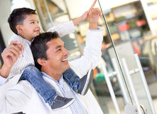 Father and son at the shopping center Royalty Free Stock Image