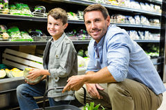 Father and son shopping Stock Image
