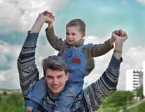 Father and son (on the shoulders) Royalty Free Stock Photo