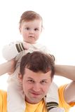 Father with son on shoulders isolated on white Royalty Free Stock Images