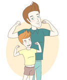 Father and son showing biceps. Hand drawn style Stock Images