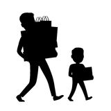 Father and Son Silhouettes Carrying Purchases Royalty Free Stock Photography