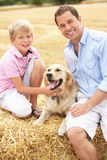 Father And Son Sitting With Dog On Straw Bales In. Harvested Field Smiling At Camera Royalty Free Stock Photos