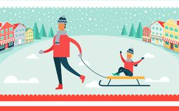 Father and Son on Sled Winter Vector Illustration. Father and son sitting on sled, winter leisure and activities of families, buildings and trees, snowflakes Royalty Free Stock Photography