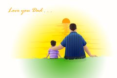 Father and Son sitting at Sunset Stock Photo