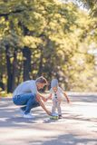 Father and son in the park royalty free stock photography