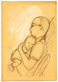 Father and son - sketch Royalty Free Stock Photo