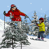 Father and son skiing in the mountains. Between the trees Royalty Free Stock Photography