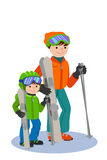 Father and son skiing in snow mountain. Family winter sport vector illustration. Royalty Free Stock Images