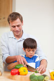 Father and son slicing vegetables Stock Image