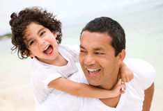 Father and son smiling Royalty Free Stock Images