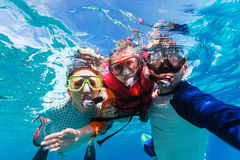 Father and son snorkeling Royalty Free Stock Photo
