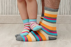 Father and son in socks Stock Images