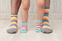 Father and son in socks Royalty Free Stock Photography