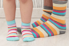 Father and son in socks Stock Image