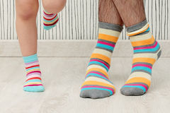 Father and son in socks Royalty Free Stock Image