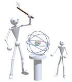 Father and son splitting the atom. Stick figures of a father and son splitting the atom on a white isolated background Royalty Free Stock Photos