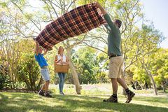 Father and son spreading the picnic blanket while mother carrying basket. In park Stock Photography